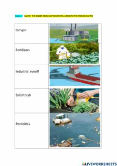 Ficha interactiva Water Pollution-Causes
