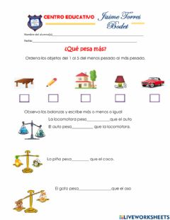 Interactive worksheet Que pesa mas