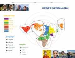 Interactive worksheet World's cultural areas