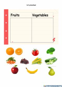 Interactive worksheet Fruits and vegetables