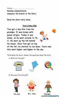 Interactive worksheet Tom's New Kite
