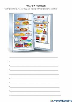 Interactive worksheet What-s in the fridge