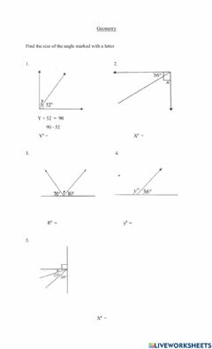 Interactive worksheet Complementary and supplementary angles