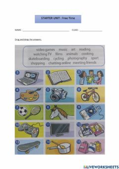Interactive worksheet CEFR YEAR 5 : FREE TIME