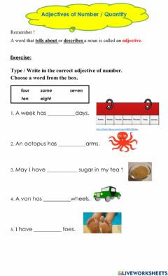 Interactive worksheet Adjective of number