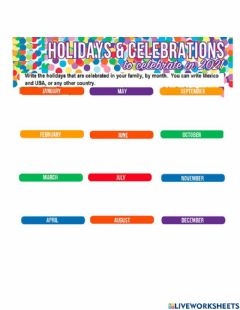 Ficha interactiva Holydays and special events