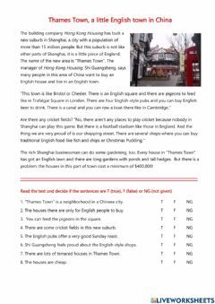 Interactive worksheet Reading - Thames Town