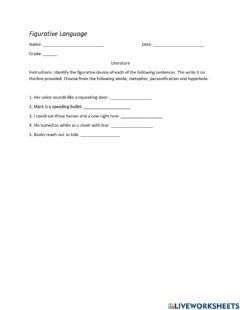 Interactive worksheet Literature