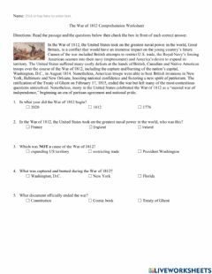 Interactive worksheet War of 1812 Comprehension Worksheet text only