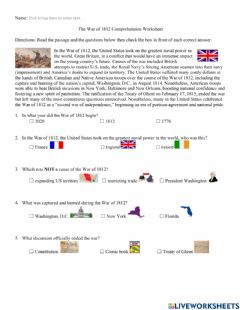 Interactive worksheet War of 1812 Comprehension Worksheet w visual support