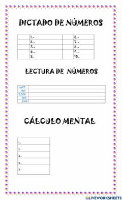 Interactive worksheet Dictado de núemros y cálculo mental