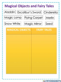 Interactive worksheet Magical Objects