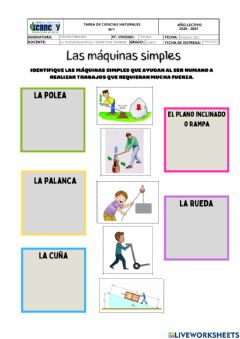 Interactive worksheet Maquinas simple de fuerza