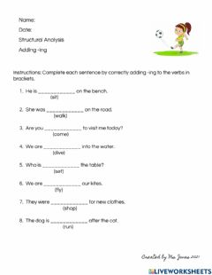 Interactive worksheet Adding -ing