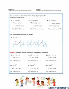 Ficha interactiva Divide by 11 and 12