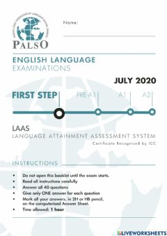 Interactive worksheet NEW REFORMED Palso LAAS first step 2020