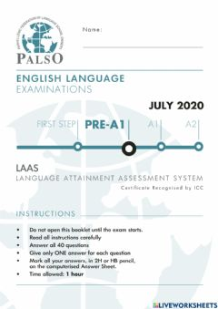 Interactive worksheet NEW REFORMED Palso LAAS PRE-A1 2020