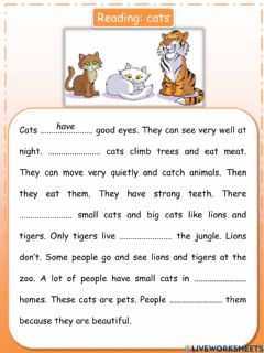 Interactive worksheet Reading Movers: cats