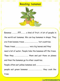 Interactive worksheet Reading Movers: bananas