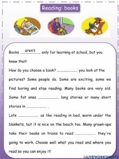 Interactive worksheet Reading Movers: books