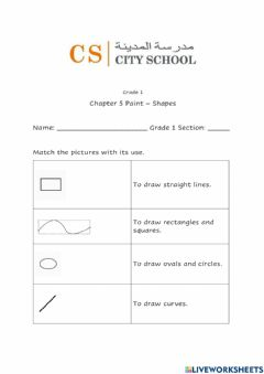 Interactive worksheet Shapes MS Paint