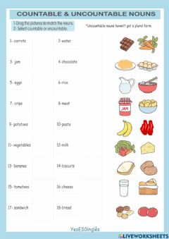 Interactive worksheet Countable and uncountable nouns 1