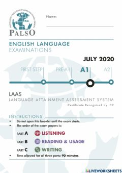 Interactive worksheet NEW REFORMED Palso LAAS A1 2020