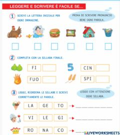 Interactive worksheet Le sillabe di t