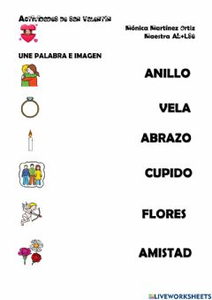 Interactive worksheet Vocabulario San Valentín