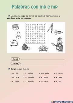 Interactive worksheet Palabras con mb e mp