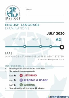 Interactive worksheet NEW REFORMED Palso LAAS A2 2020