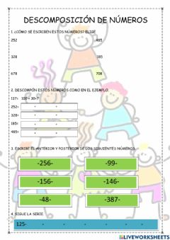 Interactive worksheet Descomposición de números