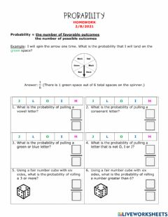 Interactive worksheet Probability with Fractions