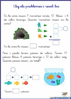 Interactive worksheet Problemes sumes