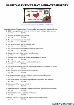 Interactive worksheet Video: Saint Valentine's Day Animated History