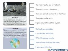 Interactive worksheet Space Reading