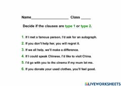 Ficha interactiva If clauses - type 1 and 2