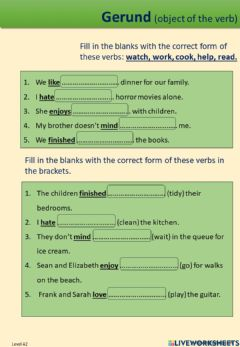 Interactive worksheet Gerund as the object of the verb
