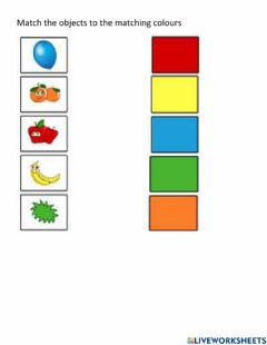 Interactive worksheet Match the colour