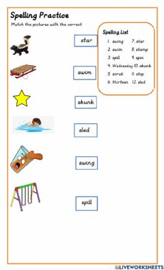 Interactive worksheet Initial S Blends