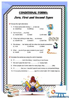Interactive worksheet Zero First and Second Conditional