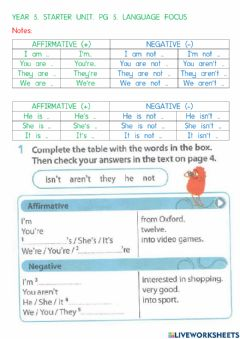 Interactive worksheet Yr 5. starter unit. pg 5. ex 4.