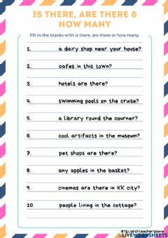 Interactive worksheet Is there, Are There & How Many