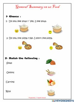 Interactive worksheet We can2 General Summary on FOOD