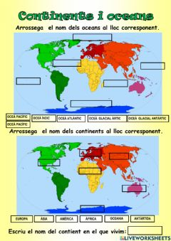 Interactive worksheet Continents i oceans