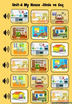 Interactive worksheet My house listen and choose