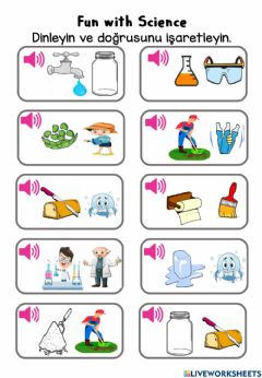 Interactive worksheet Fun with science listen and choose