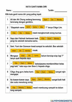 Interactive worksheet Kata ganti nama