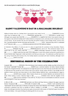 Interactive worksheet Saint Valentine's Day