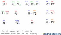 Interactive worksheet Let's Learn Chinese K1Basic